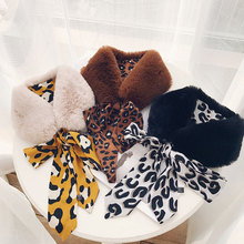 MIARA.L new leopard Korean version of the fur collar faux scarf plush stitching in winter warm thick