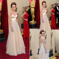 Miley Cyrus Oscar Luxurious Nude Color Sweetheart Beaded Tulle Long Celebrity Dress Women Gown Free Shipping