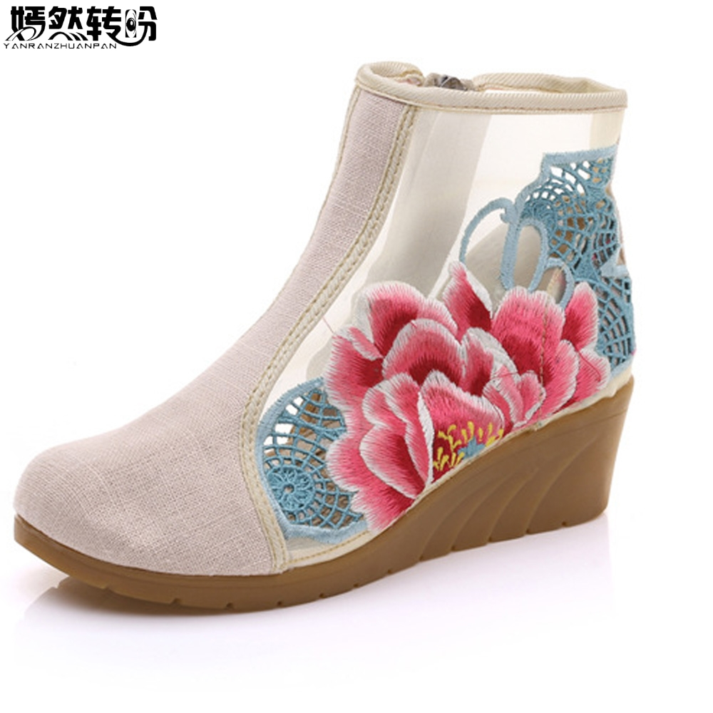 New Women Shoes Flower Embroidered Gauze Design Fashion Short Ankle Boots Zip Up Med Heels Wedge Booties Shoes For Ladies