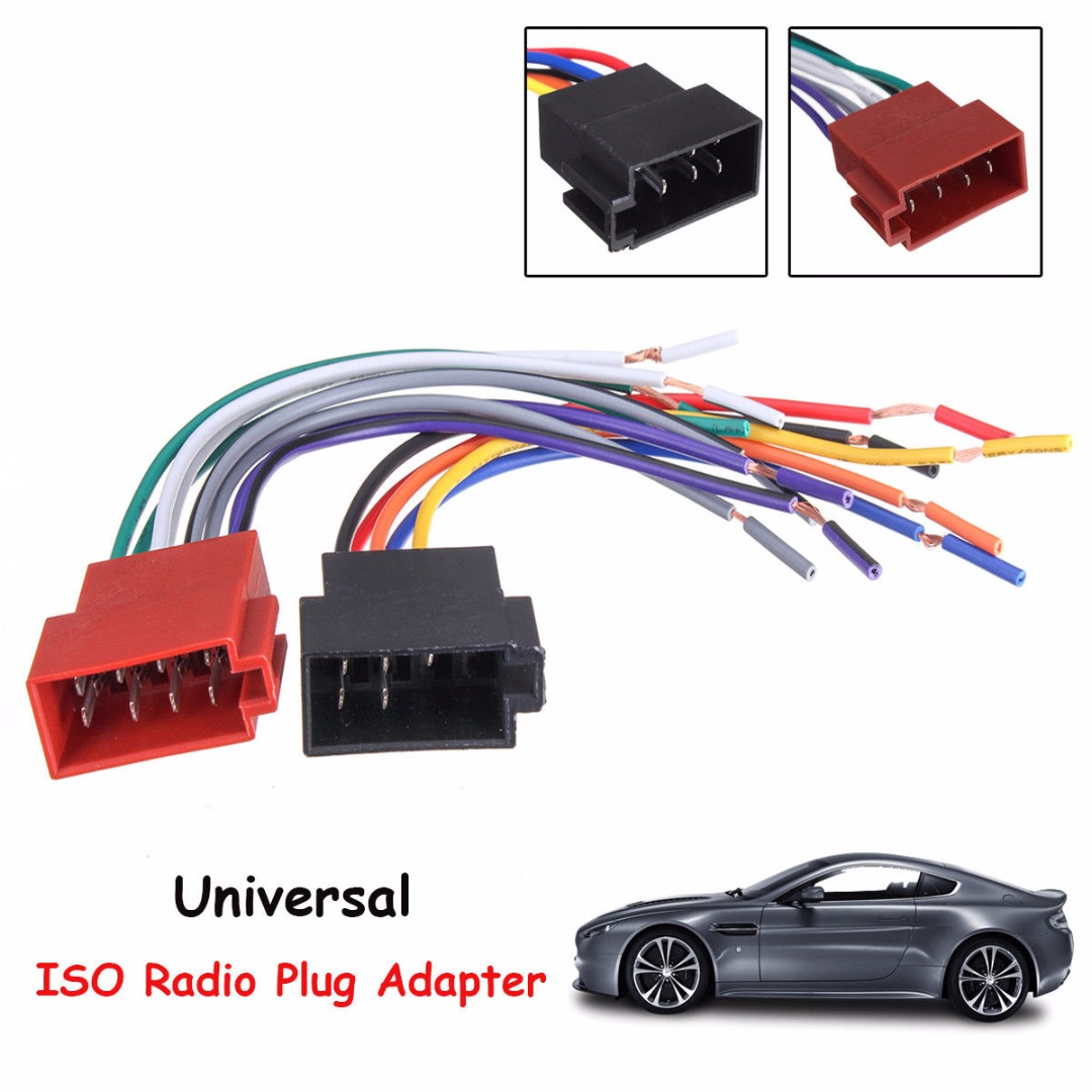 mayitr 1pari universal car radio iso wire harness adapter car radio wiring diagram [ 1080 x 1080 Pixel ]