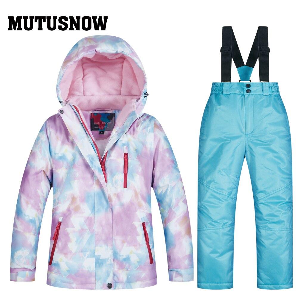 2019 Fleeced filles Ski costume imperméable enfants veste de Ski pantalon thermique hiver Ski de plein air snowboard vêtements-30 degrés - 6