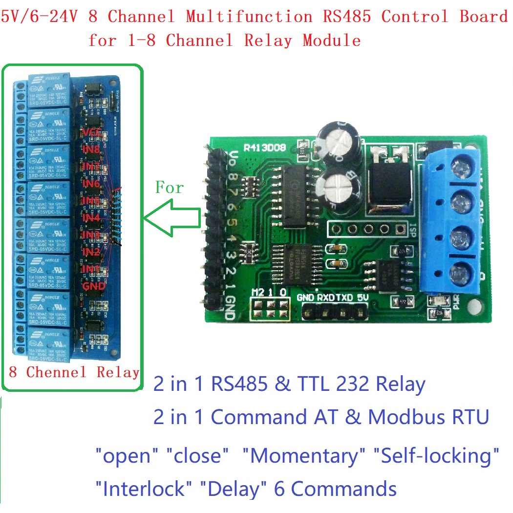 RS485 RS232(TTL) PLC Modbus Rtu Module 8ch IO  Control Switch Board for Relay Industrial automation