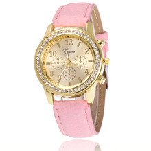 Fashion Womens Watches Geneva Belt Leather Students rhinestone diamond Watch Lady Watches