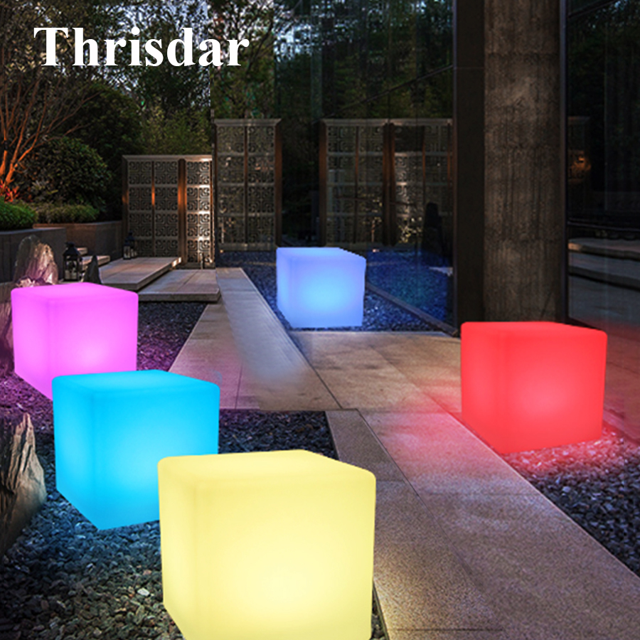 Thrisdar IP68 RGB Rechargeable Cube Led Night Light Outdoor illuminated Furniture Cube Bar Party Restuarant Table Light sk lf06c rgb ip65 rechargeable led illuminated table lamp night light cube chair for club bar ktv pub hotel party event 1pc