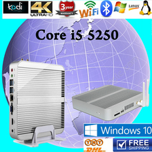 Fanles Mini PC TCore i5 5250U HTPC Gigabit Lan Wifi HD Optional bluetooth VGA,HDMI,LAN Windows10 pc free shipping best computer