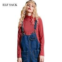 ELF שק 2017 נשים בסיסית צווארון גבוה שרוול ארוך חולצות טי חולצות פסים מוצקים נשים סתיו רקמת לב אדום