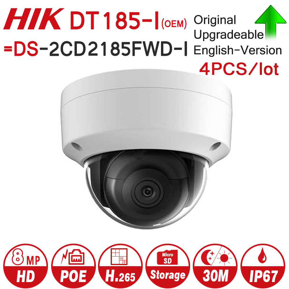 Hikvision OEM IP Camera DT185-I = DS-2CD2185FWD-I 8MP Network Dome POE IP Camera H.265 CCTV Camera SD Card Slot 4pcs/lot 4pcs hikvision surveillance camera ds 2cd2155fwd i 5mp h 265 dome cctv ip camera hikvision nvr ds 7608ni i2 8p 8ch 8ports poe