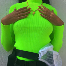 Long Sleeve T Shirt Women Fluorescent Color Green Red Spring Autumn T-Shirt Female Turtleneck Knitted Casual Tops Tees Tshirts(China)