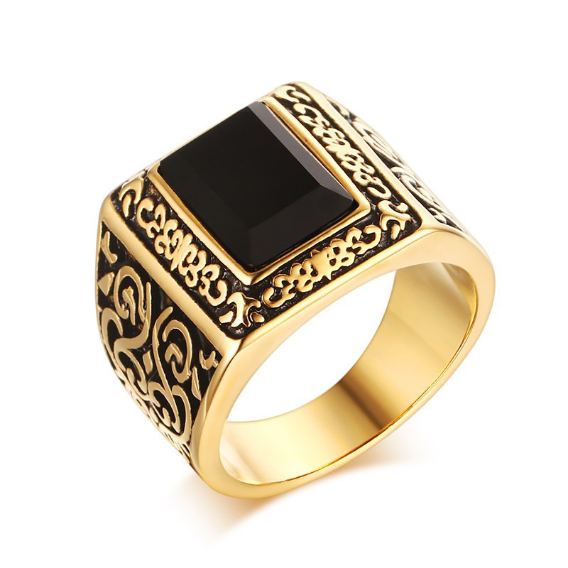 FIVETWOO Jewelry Stailess Steel Vintage Mens Ring In Gold-color Plated FWR70
