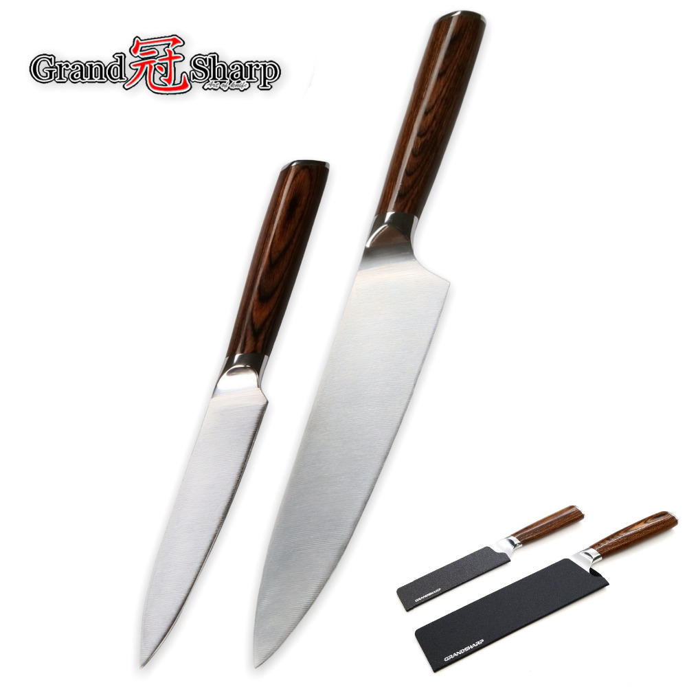 Knife Set 2 Piece Chef Utility Knife Molybdenum Vanadium German Steel DIN1 4116 Kitchen Knives High