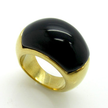 Hot sale women Punk Gold Stainless Steel Multicolors Crystal Zirconia Red Black White Stone Moon Finger