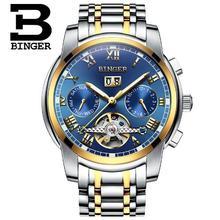 Suíça Binger Homens Esporte Tourbillon Mens Relógios Top Marca de Luxo Mecânico Automático do relógio de Pulso relogio masculino