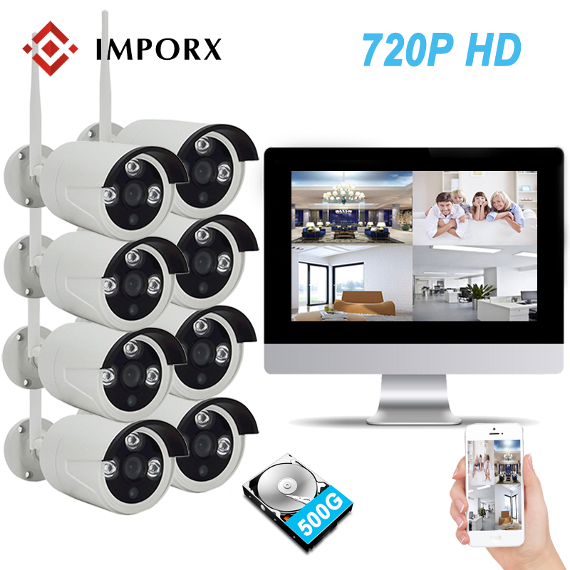 IMPORX 720P 8CH Wireless NVR Kit 10.1 LCD Monitor Screen P2P Wifi CCTV System 1.0MP IP Camera Outdoor Security Surveillance Kit