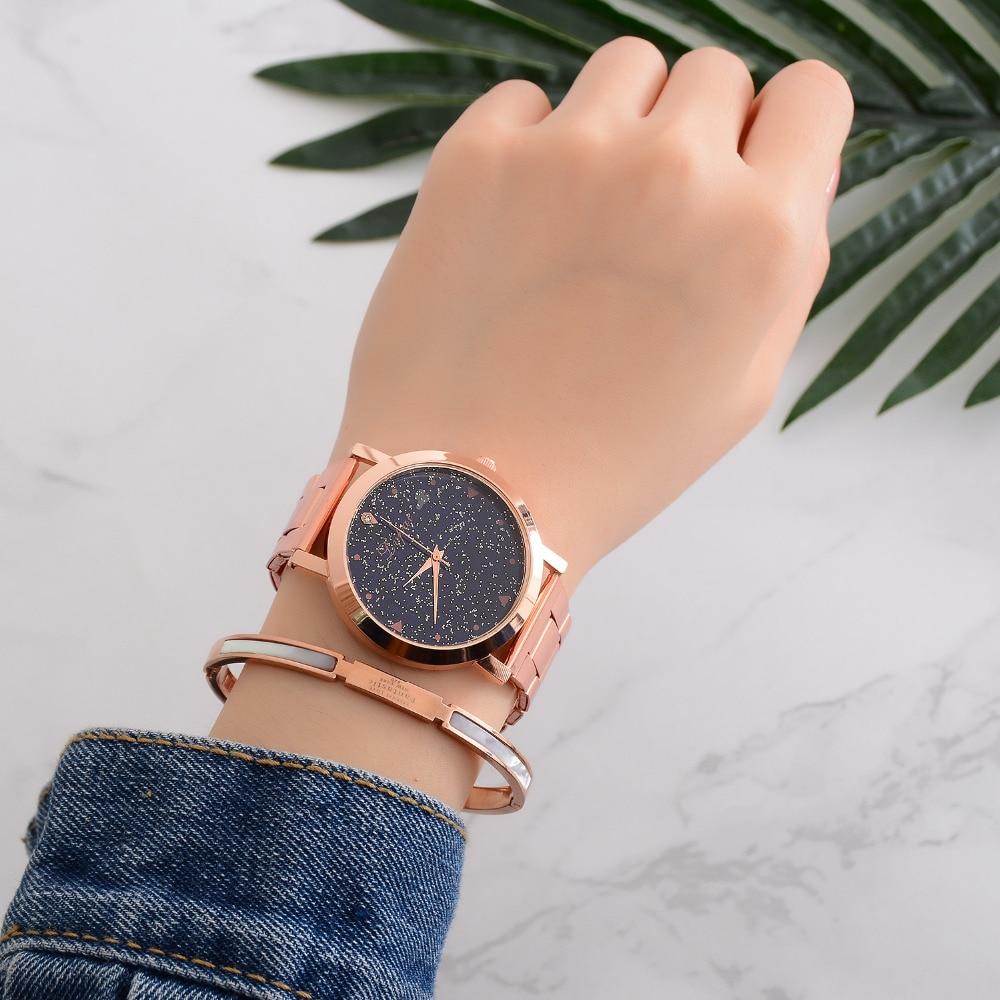 купить Luxury Brand Women Dress Watches Rose Gold Stainless Steel Fashion Ladies Wristwatch Star Quartz Clock Cheap Luxury Watches по цене 277.43 рублей