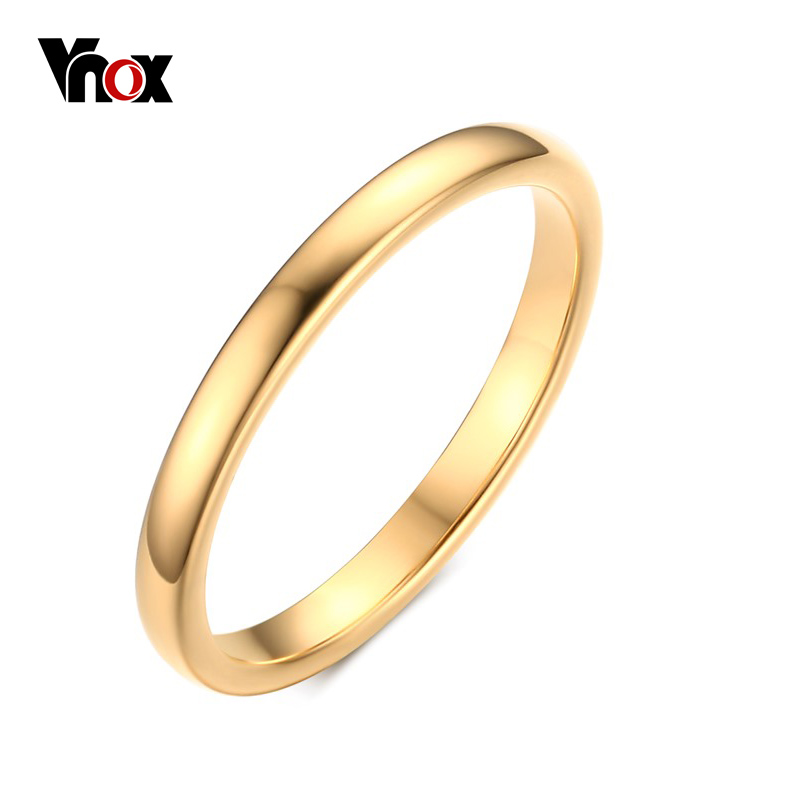 2 0 Mm Bands: Vnox Cute Women's Gold Color Rings Trendy 2 Mm Tungsten