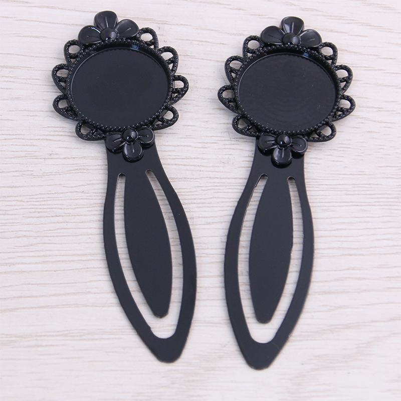 SWEET BELL High Quality 5pcs 20mm Inner Size Black Vintage Style Handmade Bookmark Cabochon Base Cameo Setting