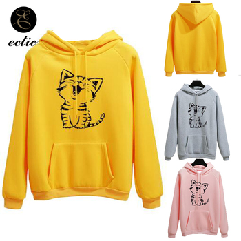 цена на Poleron Mujer 2019 Animal Print Sweatshirt Cat Kawaii Kangaroo Pocket Hoodie Cute Clothes Women Pink Ulzzang Long Sleeve Hoodie