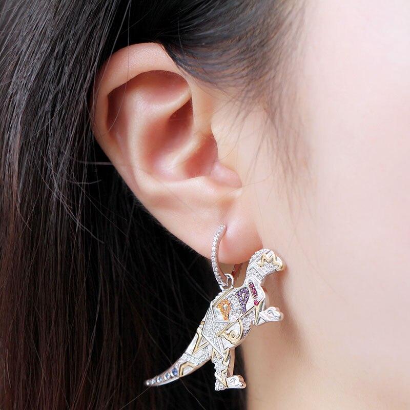Image 5 - MeiBaPJ 925 Sterling Silver Multicolor Dinosaur Cubic Zirconia  Asymmetric Pop Rexy Dino Earrings Women  April New JewelryDrop  Earrings