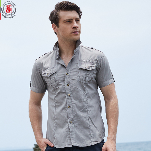 e28b5b5cdc FREDD MARSHAll Brand New Arrival Mens Cargo Shirt Men Casual Shirt Solid Short  Sleeve Shirts Work