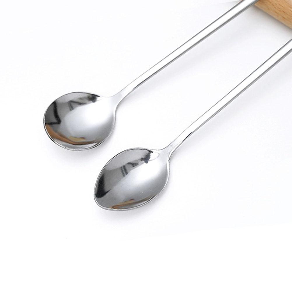 19cm Cute Rainbow Long Steel Ice Cream Cocktail Teaspoon Coffee Soup Tea Spoon