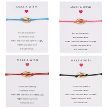 Bracelet With Paper Card Shell Weave Adjustable Love Natural Pendant Women Colorful Rope Bracelets