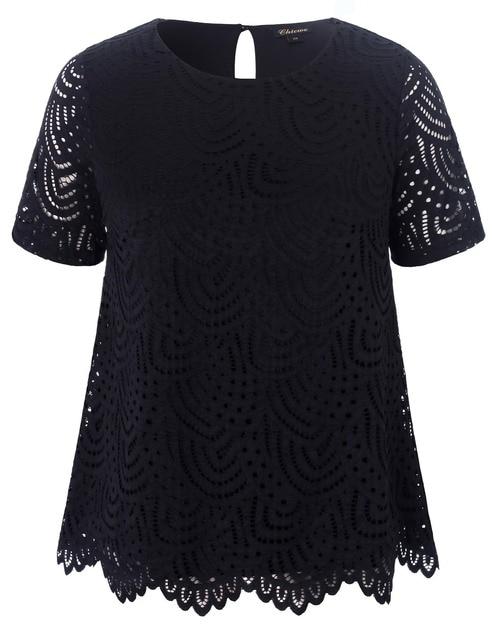 2018 Chicwe New Women s Plus Size Smart Scalloped Lace Top Tunic Blouse Large  Size Big Size 1X-4X 609dd141c77c