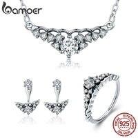 BAMOER 100 925 Sterling Silver Fairytale Tiara Princess Crown Earrings Necklace Jewelry Set Sterling Silver Jewelry