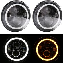 7 Inch 40 W H4 светодиодный фары лампа с углом глаза 7 «круглая фара для Lada 4×4 Urban Нива Land Rover 90/110 защитник