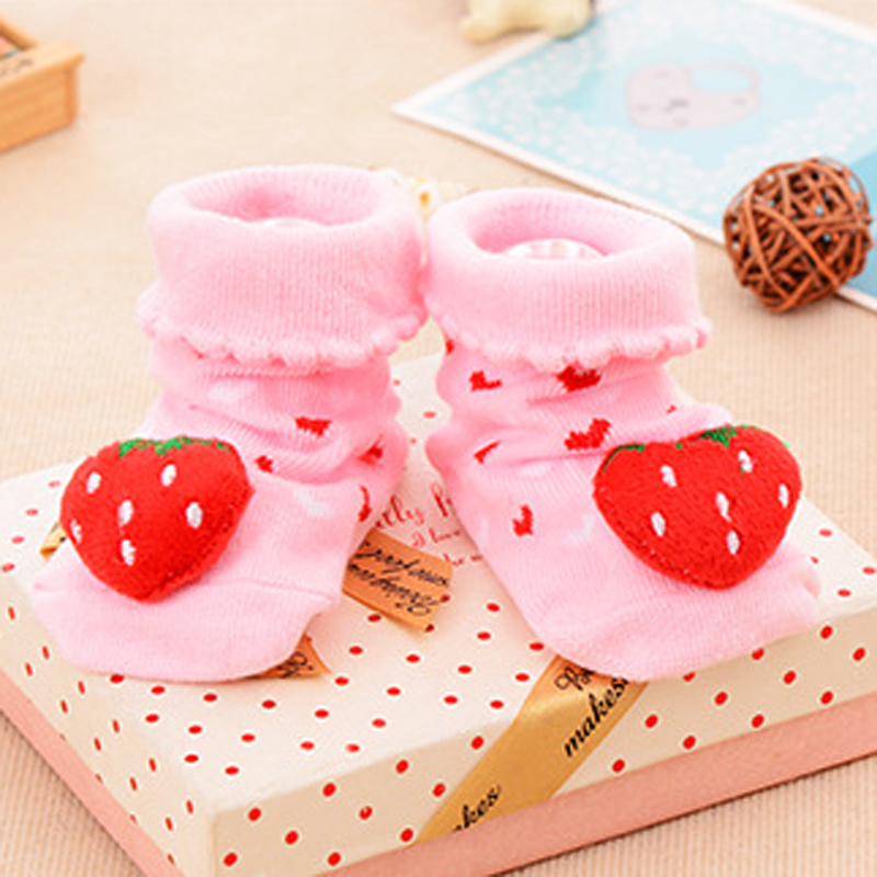 Cozy Thick Warm 1 Pair Cat Strawberry Pattern Infant Newborn Socks Suitable 0-18 Month Winter 100% Cotton Sock Non-slip Sock