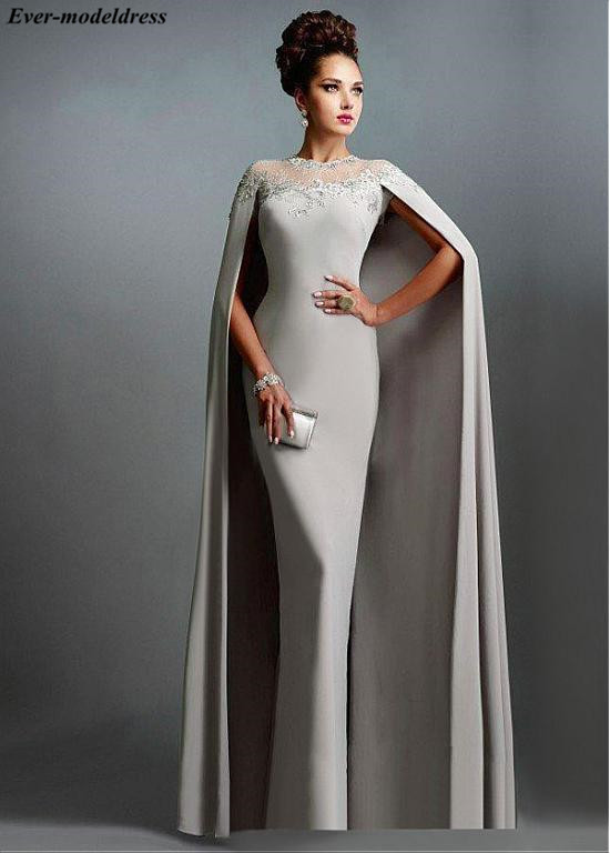 2019 Long Mermaid   Evening     Dresses   With Cape Illusion Neck Lace Mother of the Bride   Dresses   Long Formal Party Prom   Dresses   Cheap