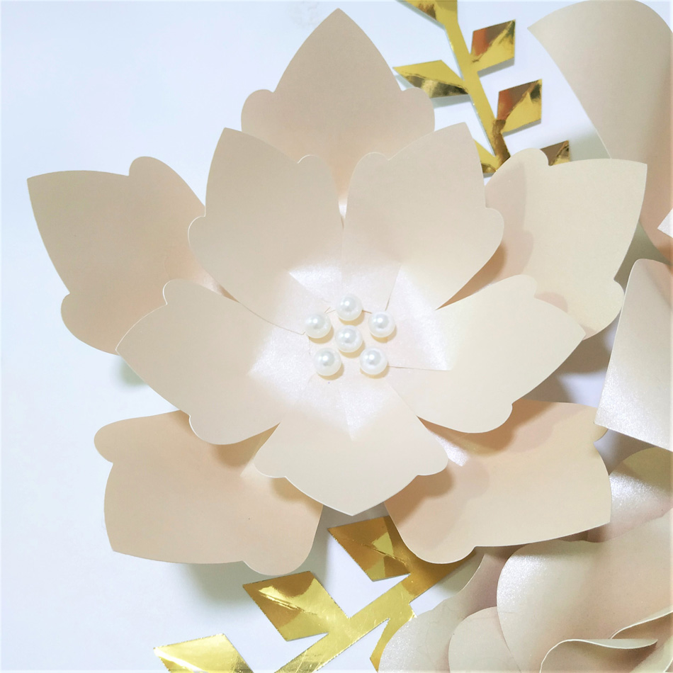 Handmade Glitter Light Pink Rose DIY Paper Flowers Gold Leaves Set Party Backdrop Nursery Wall Deco Girls Room Baby Shower Video in Artificial Dried Flowers from Home Garden
