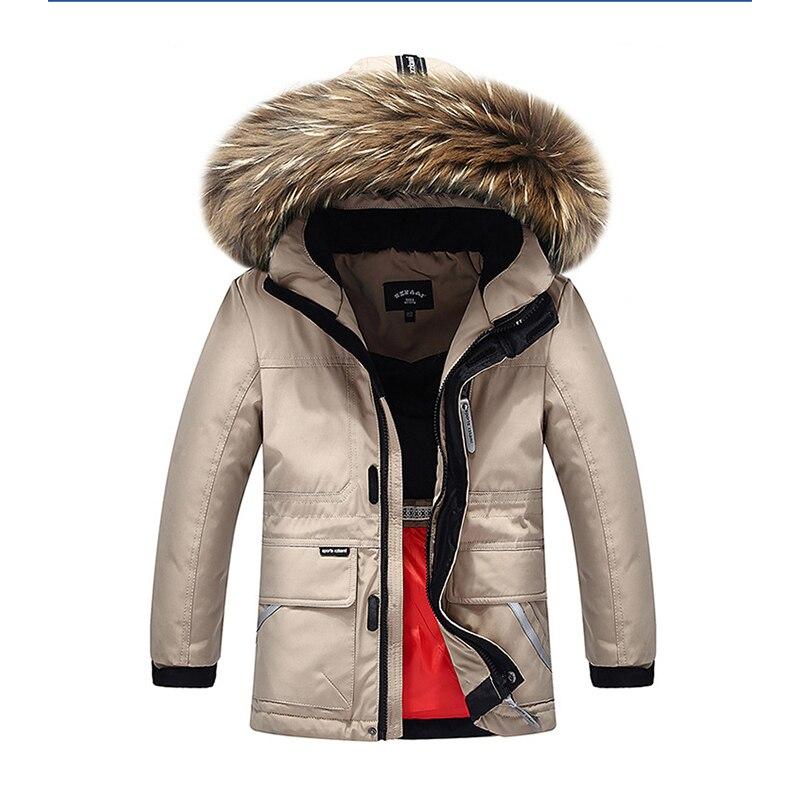 3922999c85ac Boys Girls Real Raccoon Fur Collar Quilted Waterproof Duck Down ...