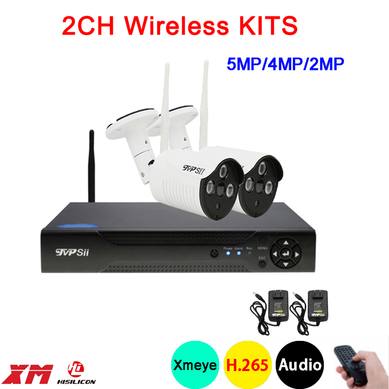 5mp 4mp 2mp Three array Infrared ICsee Waterproof H 265 25fps 2CH 2 Channel WIFI Wireless