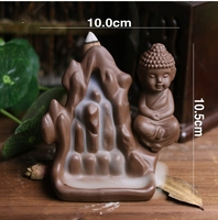 Ceramic Buddhist Buddha Smoke Backflow Cone Holder Incense Burner & 7 CONES