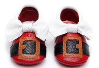 Christmas Gifts For Baby Genuine Leather Moccasins Shoes Cute Belt Pattern Baby Girls Boys First Walkers