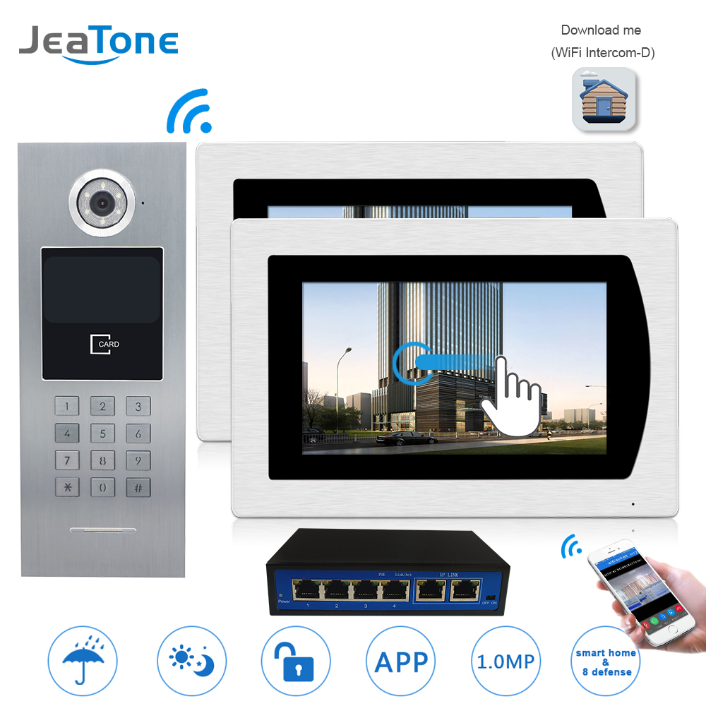 7''WIFI Video Door Phone IP Doorbell Intercom Touch Screen for Building Access Control System 1 to 2 Password/IC Card/iOS Phone 7 inch password id card video door phone home access control system wired video intercome door bell