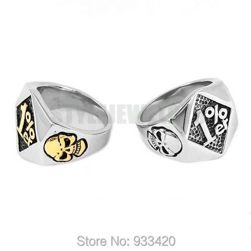 Wholesale One Percent 1% ER Skull Biker Ring Stainless Steel Jewelry Silver Gold Fashion Skull Motor Biker Men Ring SWR0619B