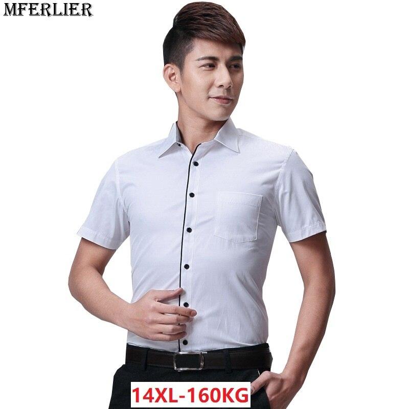 MFERLIER summer 10XL shirts men 9XL 7XL 8XL 11XL 12XL 13XL 14XL larger plus size big 6XL Dress Business shirts work short sleeve