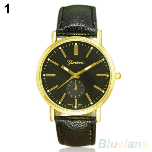 0807a2d720c Лидер продаж Мужская Мода Женева Повседневное Искусственная кожа Группа  Аналоговые кварцевые наручные часы 2adg