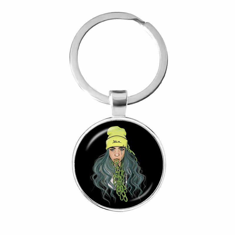 Popular Jovem Cantor Billie Eilish Keychain Retrato Da Arte Hop Música 25mm Cabochon De Vidro Chave Anéis Jóias Para Os Fãs de Música presente