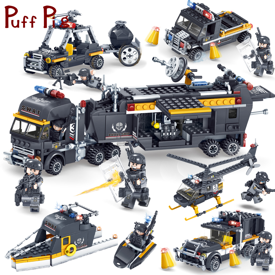 Military Swat Team Police Trucks Cars Helicopter Model Building Blocks Compatible Legoe City Classic Bricks Toys For Children military modern swat figure single sale police with shield gun weapon bricks building blocks set model toys for children