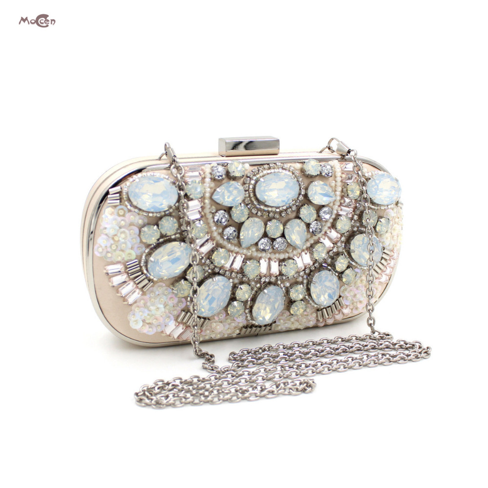 Moccen Luxury Women Handbags Ladies Clutch Bag Crystal Beaded Evening Bags Day Clutches Wedding Party Purses And Handbags 2017 luxury flower evening bag handmade diamond clutch bags women crystal butterfly handbags party velvet clutches purses jxy784