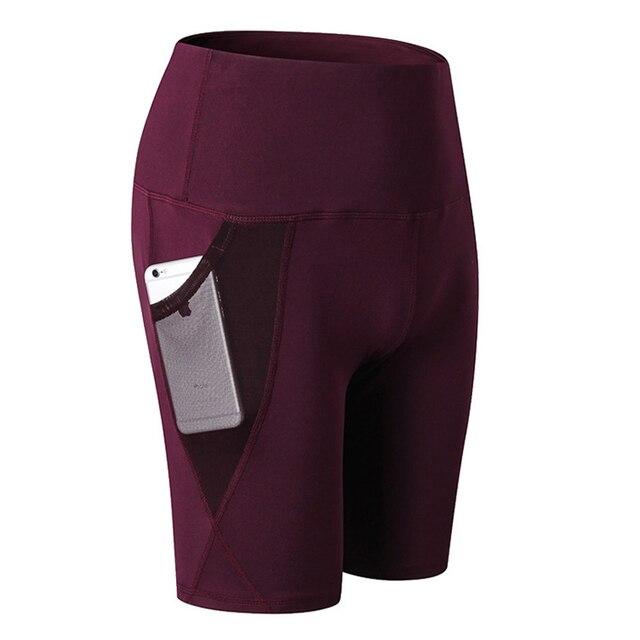 Sport Shorts Women Compression Shorts Women Sports Pocket Leggings High Waist Elastic Running Shorts Fitness Gym Short Feminino 3