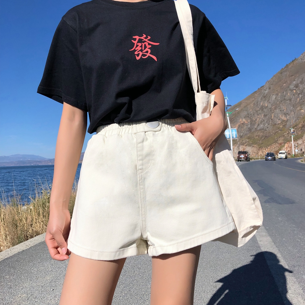 Streetwear Summer Women Denim Shorts 2019 New Arrival High Elastic Waist Wide Leg Shorts Jeans Black Blue White Pink Short Femme