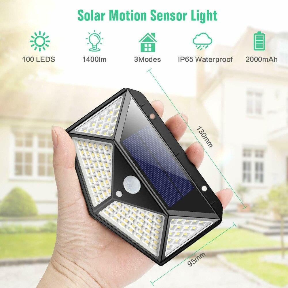 Solar LED Lights Outdoor 3 Modes 100 LEDs Solar Lamp Garden Light Motion Sensor 270 Degree Waterproof  IP65 Solar Security Light
