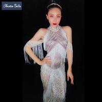 Новое сексуальное длинное облегающее платье с кисточками женское цельнокроеное платье со стразами сцена для ночного клуба костюмы Dj Singer од