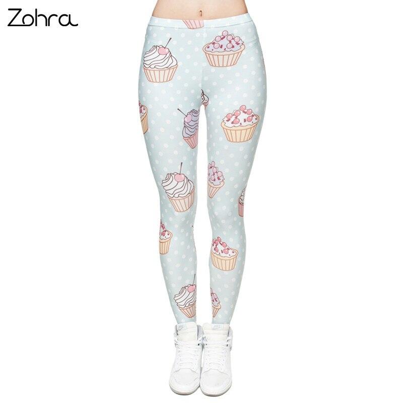 Zohra Alta Elastico Donne Leggings Focaccina Dots Stampa 3D Pantaloni di Fitness Legging Sottile di Alta Vita Legins Casuale Delle Donne Pantaloni
