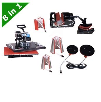 Nuevo 30*38CM 8 en 1 Combo máquina de prensa de calor máquina de transferencia térmica máquina de sublimación para tapa taza placa camiseta impresión
