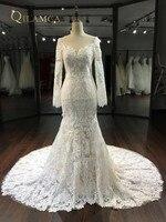 Nouveau Design Sirène Robes De Mariée 2018 Manches Longues Chapelle Train Sexy Dos Nu Dentelle Robes De Mariée Robe de mariage