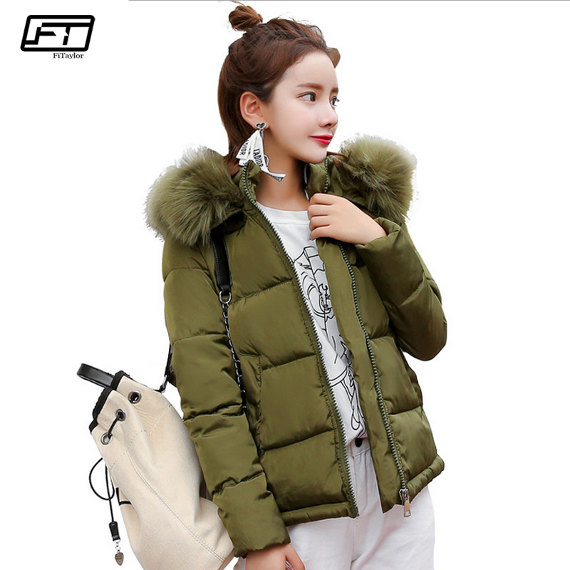 Fitaylor 2017 New Short Black Padded Jacket Slim Hooded Fur Casual Winter Coat Women Thick Warm Cotton Parkas Mujer swenearo reversible coat new winter jacket women slim long parkas thick warm cotton padded large fur hooded casual coat feminina